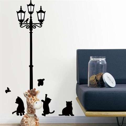 Kreatif Kucing Burung Street Lampu Dinding Stiker Living Room Decals Diy Dekorasi Rumah Kamar Tidur Mural Seni Poster-Intl 2