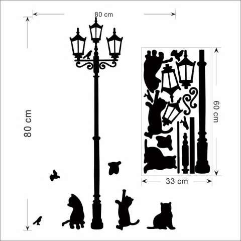 Kreatif Kucing Burung Street Lampu Dinding Stiker Living Room Decals Diy Dekorasi Rumah Kamar Tidur Mural Seni Poster-Intl 3