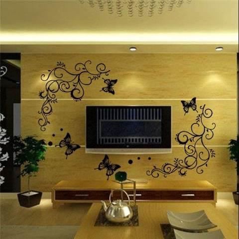 Bunga Kreatif Stiker Dinding Tanaman Rambat Ruang Keluarga Stiker Lukisan Dinding Kamar Tidur Diy Poster Dekorasi Rumah-Intl 2