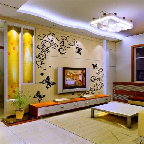 Bunga Kreatif Stiker Dinding Tanaman Rambat Ruang Keluarga Stiker Lukisan Dinding Kamar Tidur Diy Poster Dekorasi Rumah-Intl 3