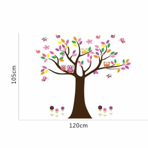 Kreatif Owls' Keluarga Di Kupu-kupu Bunga Pohon Dekorasi Kamar Anak-anak Ruang Keluarga Stiker Dinding DIY Poster Seni Mural-Intl 3
