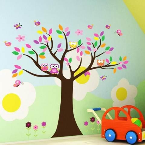 Kreatif Owls' Keluarga Di Kupu-kupu Bunga Pohon Dekorasi Kamar Anak-anak Ruang Keluarga Stiker Dinding DIY Poster Seni Mural-Intl 2
