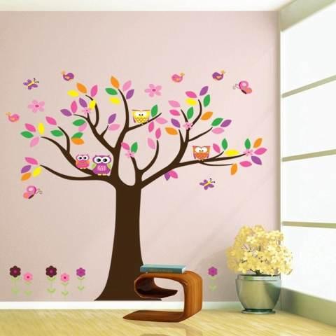 Kreatif Owls' Keluarga Di Kupu-kupu Bunga Pohon Dekorasi Kamar Anak-anak Ruang Keluarga Stiker Dinding DIY Poster Seni Mural-Intl 1