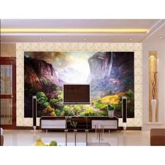 Sesuaikan 3D Dinding Kertas Dekorasi Rumah Ruang Tamu Desa Gunung Sapi dan Domba 3D Wallpaper Dinding Dinding Bata Gulungan Kertas -Intl