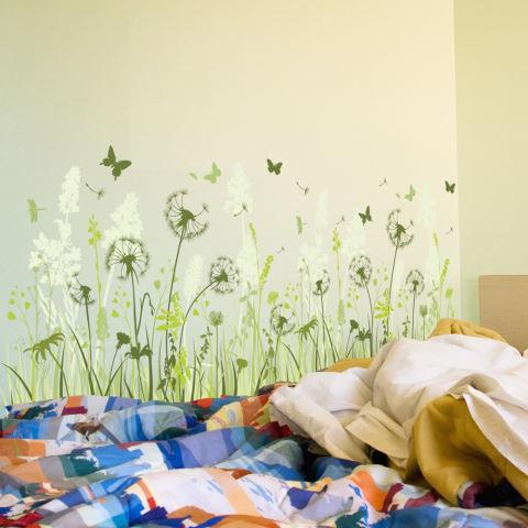 Dandelion bunga kupu-kupu hijau daun stiker dinding rumah stiker PVC mural vinil Paper House dekorasi Wallpaper ruang tamu kamar tidur dapur gambar seni diseduh sendiri untuk anak remaja dewasa bayi Senior bibit - International 3