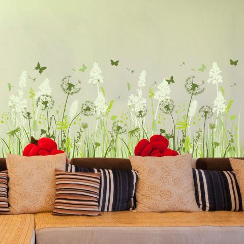 Dandelion bunga kupu-kupu hijau daun stiker dinding rumah stiker PVC mural vinil Paper House dekorasi Wallpaper ruang tamu kamar tidur dapur gambar seni diseduh sendiri untuk anak remaja dewasa bayi Senior bibit - International 2