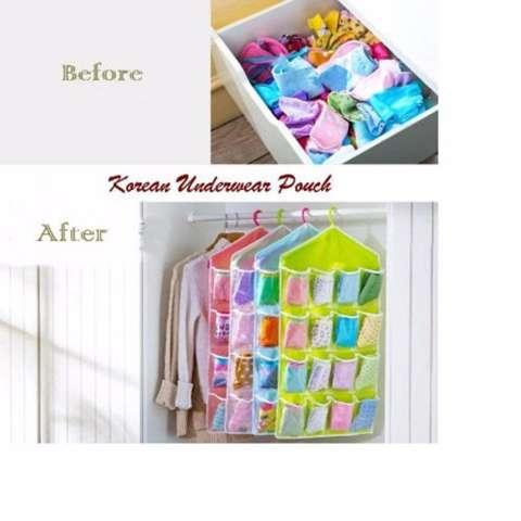 Home; DapurBunda Gantung 16 Kantong Hanger Organizer Underwear Pouch Korean - 1 Pcs ( BIRU