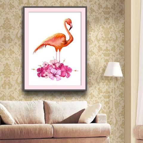 Lukisan Berlian Penuh Baru Ruang Keluarga Kamar Tidur Minimalis Modern Flamingo Dihiasi Bor Jahitan-Intl 1