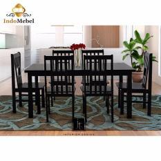 Dining Set - Oriental Meja dan Kursi Makan Kayu untuk 6 Orang - Hitam - Free Ongkir Medan - Free Kaca Meja Reben
