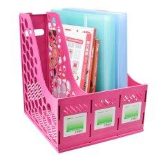 Divider Bagian Majalah File Holder Bingkai Tray Shelf Lever Arch File Folder Penyimpanan Rak Kokoh Display Stand Meja Rapi Perlengkapan Pink-Intl