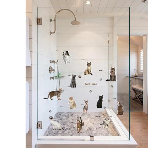 Kucing DISEDUH SENDIRI Pesta Kamar Anak-anak Hiasan Kaca Jendela Removable Wall Stiker-Intl 3