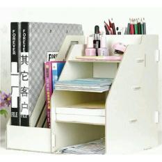 DIY Stationery Rack Rak Buku Kayu Rak Buku Portable A340 - Putih