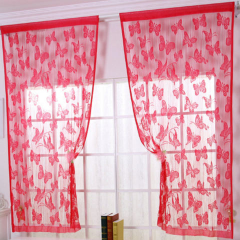 Pintu Tirai Jendela Pola Kupu-kupu Tassel String Room Tirai Merah-Intl 1