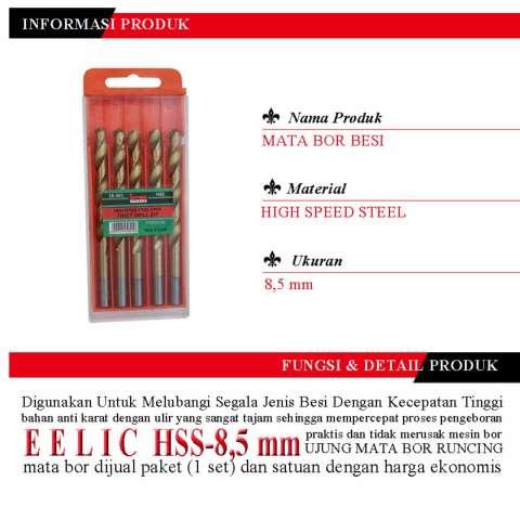 EELIC HSS-8.5mm Mata Bor Besi Isi 1pack 5PCS Ukuran 8.5mm Berbahan High