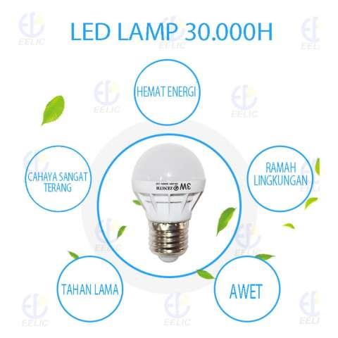 EELIC LAU-Z3W -7000K 12 PCS CAHAYA PUTIH TERANG BOHLAM LAMPU LED Awet Dan