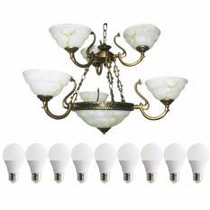 EELIC LHG-4108 Lampu Hias + 6 PCS LED 5 Watt  + 3 PCS LED 3 WATT Gantung Kap Lampu Berbentuk Mangkok Cantik