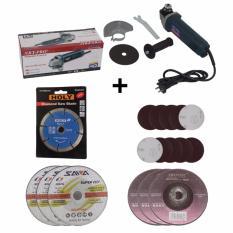 EELIC MEG-6100 Mesin Gerinda  220 Volt 670 Watt + 10 Pcs Amplas Velcro + 1 Pcs Mata Pisau Diamond + 3 Pcs Mata Gerinda 6 Mm + 3 Pcs Mata Gerinda 4 Inch