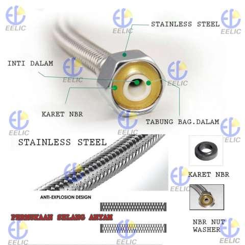 EELIC SFA-H60CM Selang Flexible Anyam Bahan Stainless Steel 304 Berkualitas Tinggi
