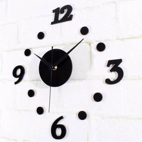 Eigia Jam Dinding DIY Acrylic Diameter 30-50cm Wall Clock Giant Unik Hiasan Dekorasi Interior Rumah Manual Silent Sweeping Movement Tidak Bersuara Penghias Tembok Ruangan Besar AA Battery Water and Steam Resistant Awet - Hitam 1