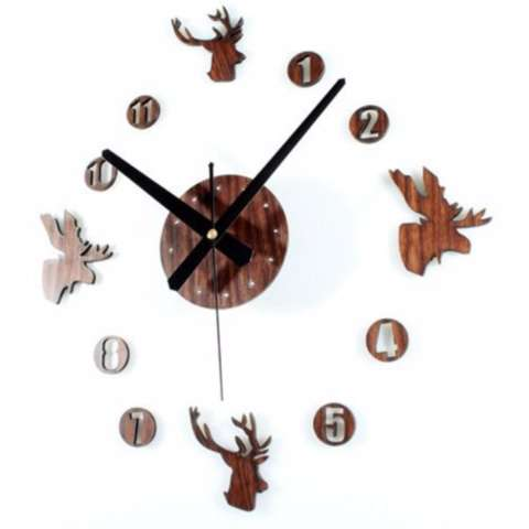 Eigia Jam Dinding DIY Jam dinding besar DIY 30-60cm Diameter ELET00663 Wall Clock Giant Unik Hiasan Dekorasi Interior Rumah Manual Silent Sweeping Movement Tidak Bersuara Penghias Tembok Ruangan Besar - Brown 2