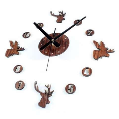 Eigia Jam Dinding DIY Jam dinding besar DIY 30-60cm Diameter ELET00663 Wall Clock Giant Unik Hiasan Dekorasi Interior Rumah Manual Silent Sweeping Movement Tidak Bersuara Penghias Tembok Ruangan Besar - Brown 1