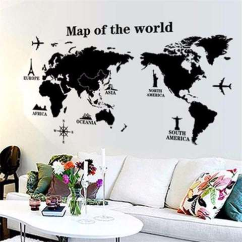 Eigia Sticker Wallpaper Dinding World Map Dekorasi Rumah Interior Unik Stiker Hiasan Kamar Kantor Office Ruangan Map of the World Motif Peta Dunia Globe Wall Decoration Wallsticker Motivation Kertas Tempelan Mudah Dipasang Tidak Merusak Tembok s5364 1