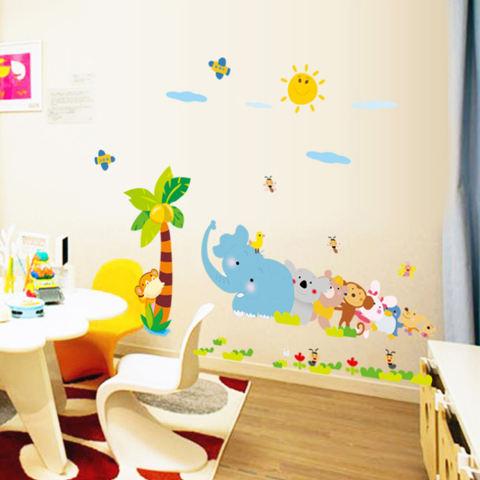 Burung Gajah Kelapa Pohon Monyet Bunga Hewan Wall Decal Home Sticker PVC Mural Kertas Rumah Dekorasi Wallpaper Ruang Tamu Kamar Tidur Seni Gambar untuk Anak-anak Remaja Remaja Dewasa-Intl 2