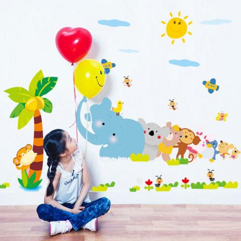 Burung Gajah Kelapa Pohon Monyet Bunga Hewan Wall Decal Home Sticker PVC Mural Kertas Rumah Dekorasi Wallpaper Ruang Tamu Kamar Tidur Seni Gambar untuk Anak-anak Remaja Remaja Dewasa-Intl 1