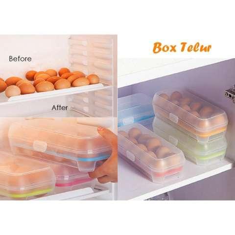 Emyli Kotak telur isi 10 Grid Egg Box Egg Case - BIRU