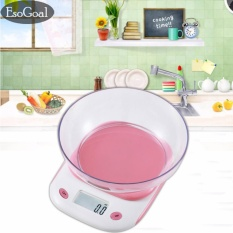 EsoGoal Digital Kitchen Scale, Protable Electronic Mini Food Scale with Scale Tray,105.8oz/6.6lb/3kg Capacity,Pink - intl