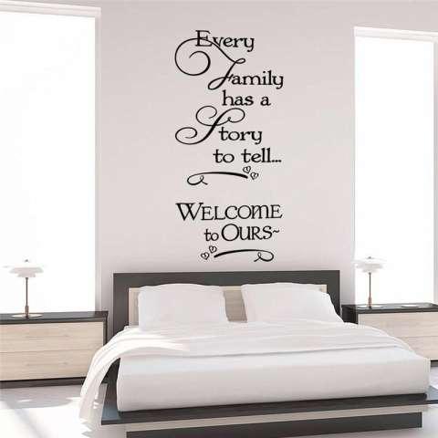 Setiap Keluarga Memiliki Cerita Kutipan Dinding Desain Ruang Tamu Stiker Dinding Decal Kamar Tidur Hiasan Rumah Vinil Poster Seni Mural-Intl 2