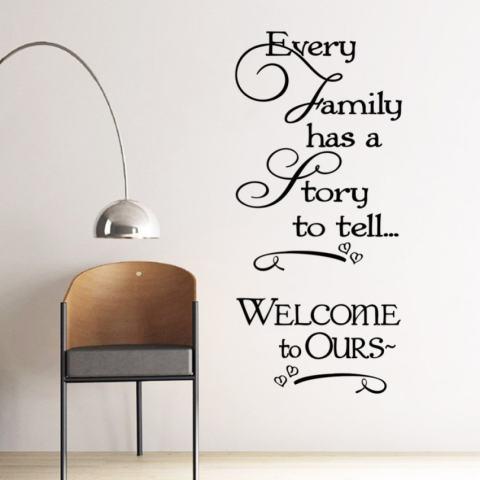 Setiap Keluarga Memiliki Cerita untuk Dikatakan Inspirational Quotes Dinding Stickersfor Kamar Tidur Hiasan Rumah Dilepas Vinil Buat Sendiri Tempelan Seni-Intl 3