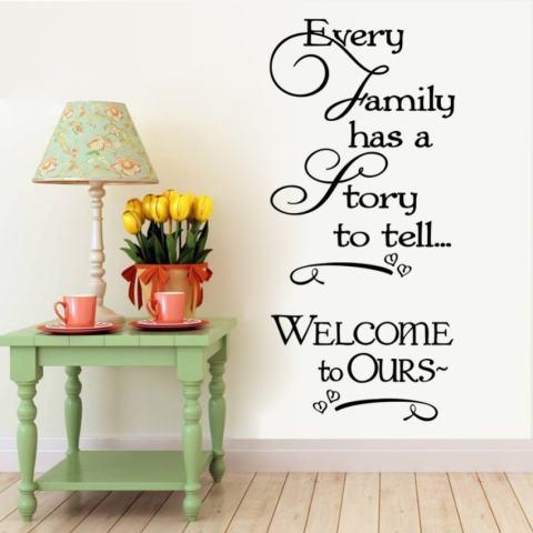 Setiap Keluarga Memiliki Cerita untuk Dikatakan Inspirational Quotes Dinding Stickersfor Kamar Tidur Hiasan Rumah Dilepas Vinil Buat Sendiri Tempelan Seni-Intl 2