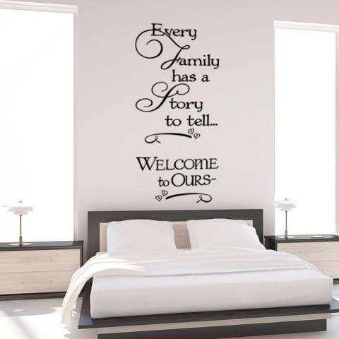 Setiap Keluarga Memiliki Cerita untuk Dikatakan Inspirational Quotes Dinding Stickersfor Kamar Tidur Hiasan Rumah Dilepas Vinil Buat Sendiri Tempelan Seni-Intl 1