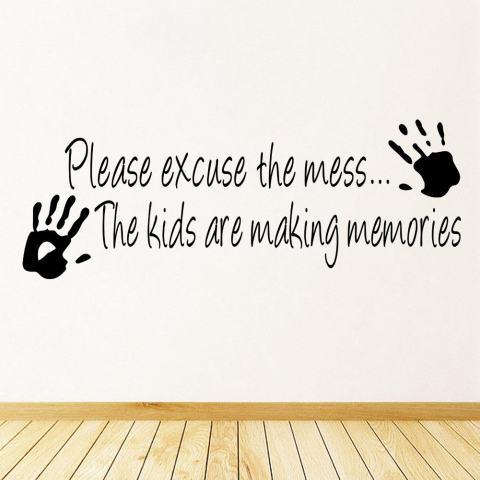 Maaf Berantakan Anak-anak Membuat Kenangan Kutipan Dekorasi PVC Stiker Tembok Kamar DIY 3
