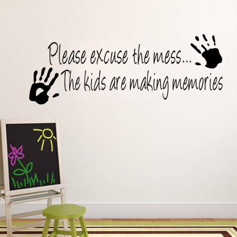 Maaf Berantakan Anak-anak Membuat Kenangan Kutipan Dekorasi PVC Stiker Tembok Kamar DIY 1