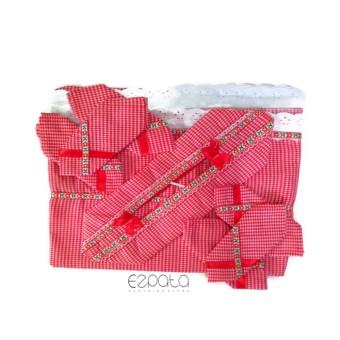 Ezpata Jual Taplak Meja Makan Set Agung Warna Merah Ukuran 200x140Cm Motif Kotak-Kotak