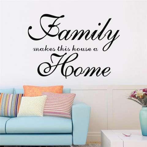 Keluarga Membuat Ini Rumah Menjadi Rumah Quotes Living Room Wall Stiker Kamar Tidur Mural Seni Poster Vinyl Dekorasi Rumah-Internasional 3