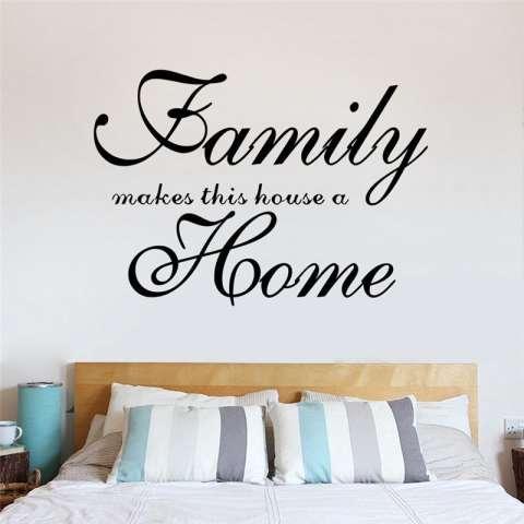 Keluarga Membuat Ini Rumah Menjadi Rumah Quotes Living Room Wall Stiker Kamar Tidur Mural Seni Poster Vinyl Dekorasi Rumah-Internasional 1