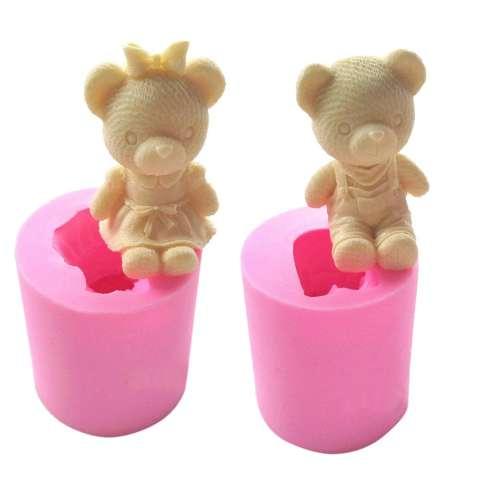 Fangfang Lucu Beruang Gadis Silikon Cetakan Sabun Fondant Kue Alat Dekorasi Hiasan Gula Kue Cetakan Cokelat Pasta Karet Cetakan Lilin-Intl 1