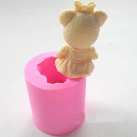 Fangfang Lucu Beruang Gadis Silikon Cetakan Sabun Fondant Kue Alat Dekorasi Hiasan Gula Kue Cetakan Cokelat Pasta Karet Cetakan Lilin-Intl 3
