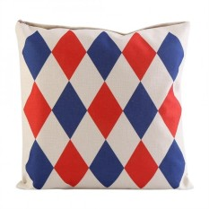 Fashion Home Sofa Waist Cushion Cover Throw Pillow Decor ( Blue& Red Check)