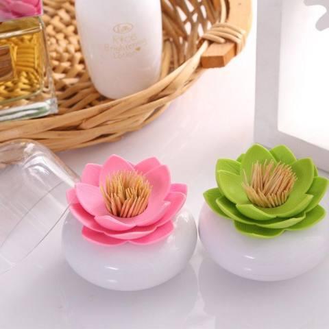 Modis Lotus Katun Bola/Swab Penahan, Tip Tusuk Gigi Organizer, penyimpanan Kosmetik untuk Meja Mandi Vanity, 3 Warna-Internasional 2