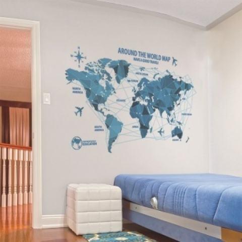 FRD Creative World Map Wall Stiker Science Technology Origami Mapwalldecal Home Decor Art Ruang Tamu Kamar Tidur Latar Belakang Wallpaper-Internasional 2