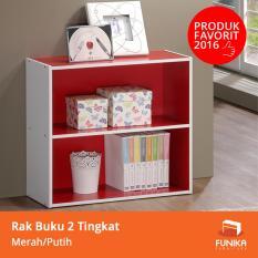 Funika 11240 RD-WH - Rak Buku 2 Tingkat - Merah/Putih - Khusus JABODETABEK