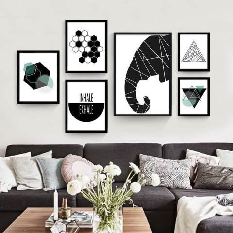 Geometris Lukisan Dekoratif Abstrak Kamar Modern Sederhana Mural Kepribadian Kreatif Lukisan Dinding Hitam dan Lukisan Putih 30*23*3 Cm Putih- internasional 1