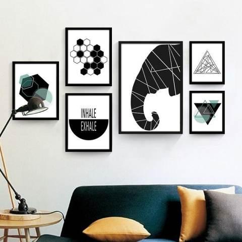 Geometris Lukisan Dekoratif Abstrak Kamar Modern Sederhana Mural Kepribadian Kreatif Lukisan Dinding Hitam dan Lukisan Putih 50*35*3 Cm Putih- internasional 2