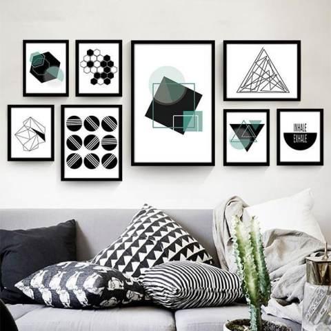 Geometris Lukisan Dekoratif Abstrak Kamar Modern Sederhana Mural Kepribadian Kreatif Lukisan Dinding Hitam dan Lukisan Putih 60*40*3 Cm Putih- internasional 3