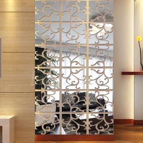 GETEK 32 Buah Diseduh Sendiri 3D Akrilik Yang Dapat Dilepas Stiker Dinding Cermin (Silver) 2