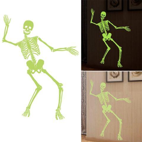Getek Halloween Bercahaya Horor Kerangka Tengkorak Desain Stiker Dinding Rumah Hiasan Kamar 1